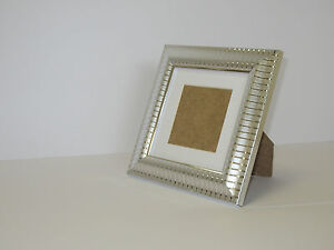 Two Tone Silver 5x5 Square Picture Photo Frame Mount 3x3 hang Stand