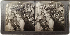 Keystone Stereoview Sewing Shoes at Factory in NY Version B 1910's Education Set