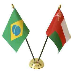 Brazil & Oman Double Friendship Flags Table Set With Base