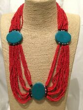 Womens Statement Chunky Long Big Large Red Blue Multi Coloured Beaded Necklace