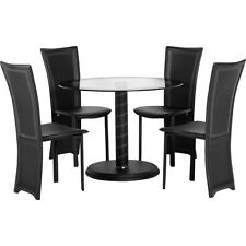 Cameo Round Dining Set Clear Glass/Black Border/Black Pvc