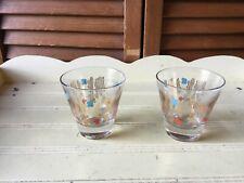 2 Mcm Atomic Whiskey On Rocks Liquor Double Shot Glasses Turquoise Orange Gold