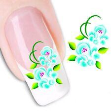 Nail Art de transferencia de agua Pegatina Adhesivos calcomanías para Flores Turquesa (DX1156)