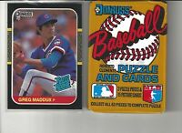 1987 Donruss Greg Maddux Rookie Baseball Card + One Unopened Wax Pack