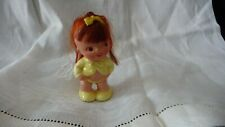 #316 vtg MinI Doll Ceramic by Napcoware red hair Yellow outfit 3'' tall