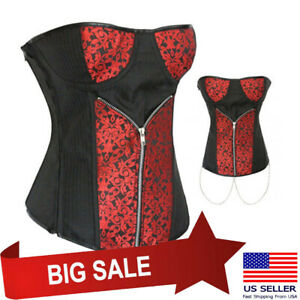 Red Jacquard Steampunk Black Stripes Corset Victorian Bustier Top Lace Up S-2XL