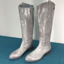 Used Sam Edelman Penny Gray Knee High Leather Womens Boots Zip Up sz 9.5 M