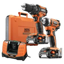 AEG Latest Special 18V 2 Piece Brushless Motor Compact Drill Combo Kit