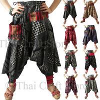 Womens / Mens Harem Drop Crotch Thai Patterned Pants Gypsy Hippie Aladdin Hmong
