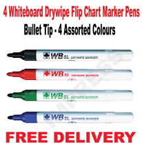 Whiteboard Drywipe Flip Chart Marker Pens Bullet Tip - 4 Assorted Colours