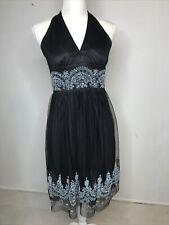 Xoxo Womens Dress Sz 9 Black Halter Beaded Tulle Lined V-neck Formal USA Vtg