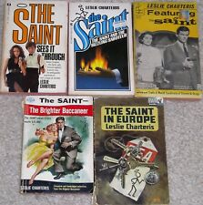 THE SAINT-LESLIE CHARTERIS-MYSTERIES-5 DIFFERENT PAPERBACK BOOKS-ROGER MOORE