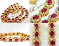 GIA Certified 67.20ct No Heat Ruby Diamond Necklace Bracelet Earrings Unheated+