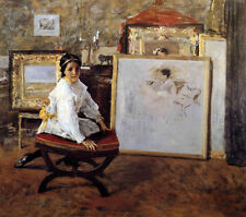 Art Oil painting William Merritt Chase - Did You Speak to Me young model seated