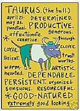 Taurus zodiac sign (positive traits) fridge magnet   (ep)