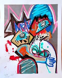 BLUE TONY EXPRESSIONISM PAINTING GALLERY ORINGIAL WALL ART FOR LIVING ROOM DECOR