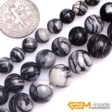 Natural Web Black Picasso Jasper Gemstone Round Loose Beads For Jewelry Making