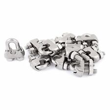 6mm 1/4 Inch Stainless Steel Wire Rope Cable Clamp Clips 12pcs Ed