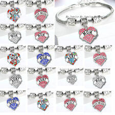 Crystal Love Heart Mom/Aunt/Uncle/Sister/Niece/Best Friend Gift Charm Bracelet