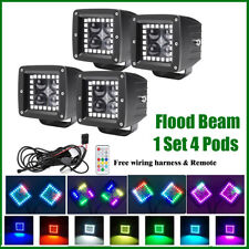 """4x 3"""" 4D CREE Led Work Light Flood Cube Pods with RGB Angel Eyes Halo Chasing"""