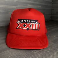 VTG Super Bowl XXIII Red Mesh Snap Back Hat U.S.A MINT CONDITION FREE SHIPPING