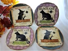 """New listing Halloween Salad Dessert Lunch Plates Witch & Black Cat by Connections 8"""" S/4 New"""