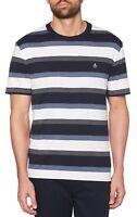 Original Penguin Stripe Fashion T-Shirt Dark Sapphire Blue Slim Fit Cotton Tee