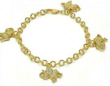 New 9 CT Gold filled Charm Bracelet, Elephant Design, with White Crystal E15