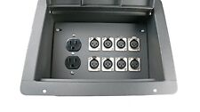 Recessed Stage Audio Floor Box w/8 XLR Mic Female Connectors + AC Outlet