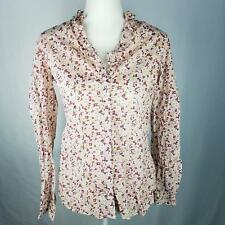 Merona Button Down Shirt Womens Size S Small Multi-Color Floral Top Long Sleeve