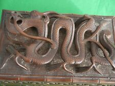 SUPERB INDIAN 1945 VINTAGE HARD WOOD STORAGE BOX AMAZING CARVED CHINESE DRAGON