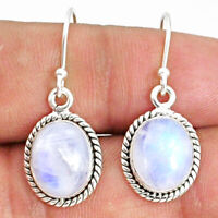 8.22cts Natural Rainbow Moonstone 925 Sterling Silver Dangle Earrings R69208