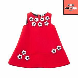 BYBLOS Neoprene Trapeze Dress Size 6M Flowers Details Zipped Back Sleeveless