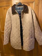 Cotton Traders Collar Quilted Winter Jacket Beige Checkedinside Medium Brand New