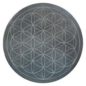 Energie-Untersetzer mit Gravur Blume des Lebens ø 10 cm aus Speckstein massiv
