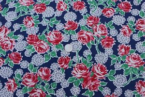 """Vintage c1930-1940s Red Rose Floral On Indigo Printed Cotton Fabric~144"""" X 35"""""""