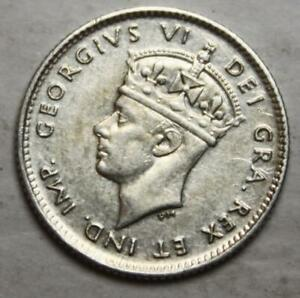 Newfoundland 1945 Silver 5 Cents, Nice Grade, Old Date KGVI (2d)