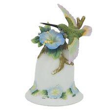 Hummingbird Bell Morning Glory Flower Porcelain Ceramic Decorative Collectible
