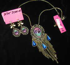 BETSEY JOHNSON MOROCCO MOROCCAN RARE PEACOCK FEATHER NECKLACE AND EARRINGS