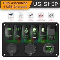 Car Marine Boat 6-Gang Waterproof Circuit Green LED Rocker Switch Panel Breaker