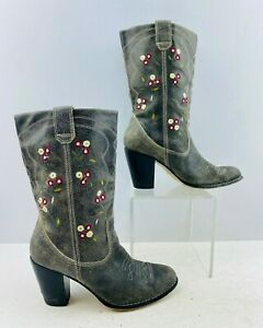 Ladies Seychelles Gray Floral Leather Round Toe Western Cowgirl Boots Size: 7