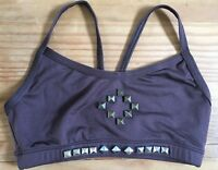 Motionwear Dance Camisole BRA TOP Size Adult SMALL Brown V Back EUC with STUDS