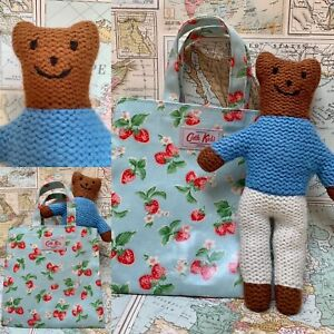Cath Kidston Knitted Teddy in a Bag Blue/White & Kids' Strawberry Print Tote VGC