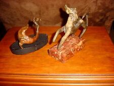 ANTIQUE FOLKART BRONZE  HORSE AND SEAL ON STANDS ~~ AS FOUND ESTATE ITEM