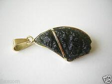 Anhänger mit Moldavit/Meteorit & 585/14 kt Gold Einzelanfertigung 6,7 g