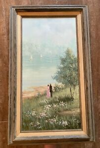 """Couple by lake original painting 17 x 29"""" Jan Reynold framed picture sailboat"""