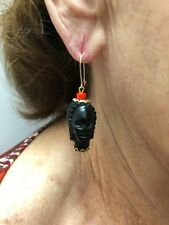 Vintage 1960s New Old Stock 1/20 14K Gold Filled Double Face Blackamoor Earrings