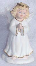 Vintage Golden Blessing Bisque Porcelain Christmas Angel Figurine