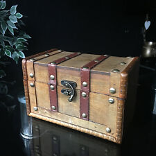 SMALL VINTAGE WOODEN TREASURE CHEST STORAGE BOX JEWELLERY TRINKET KEEPSAKE BOX