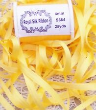 """100%PURE SILK EMBROIDERY RIBBON 1/8""""[4MM] WIDE 25 YDS DAFFODIL/YELLOW  COLOR"""